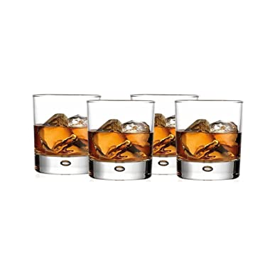 Double Old Fashioned Whiskey Glass (Set of 4) with Chilling Stones - 10 oz Heavy Base Rocks Barware Glasses for Scotch, Bourbon and Cocktail Drinks