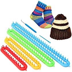 CDJX Knitter Looms Set,Set of 4 Long Knitter Looms,Plastic Scraf Hat Maker Craft Knit Loom Tools Kit for Beginner,Including Knitting Needle and Hook for DIY Use(21.5/17.5/13.4/9.4 Inch)
