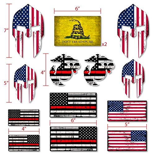 14-Pieces Sticker kit- Decals USA Flag Stickers- 1st Responders- Fire Dept Red Lives - Marines Red,USMC Military Eagle Globe Anchor- 100% Vinyl Stickers for Trucks, jeeps, Laptops, Waterbottles, Lo