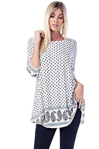 Allora Betsy Red Couture Women's & Plus Size Soft Knit Tunic Top (1X, (Beaded Knit Tunic)