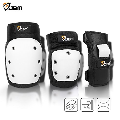 JBM Adult Extra Large Cap Street Knee and Elbow Pads with Wrist Guards for Street / Park Skate, Skateboard, Skateboarding, Inline Roller Skating, Bmx, Bike, Cycling, Scooters