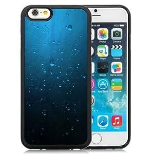 Fashionable Custom Designed iPhone 6 4.7 Inch TPU Phone Case With Minimalistic Blue Rain On Window_Black Phone Case