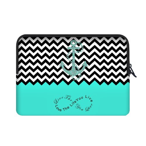 WECE Cute Turquoise Block Chevron Zigzag Infinity Anchor Picture Notebook Laptop Sleeve Case Live the Life You Love - Macbook, Macbook Air/Pro 15.6 Inch Hot Sale Laptop Sleeve Case Bags