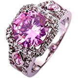 Amethyst Pink Blue White Gemstone Women AAA Silver Ring Size 6 7 8 9 10 11 12 13#by pimchanok shop (9, 504 Pink Topaz)