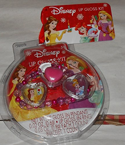 (Disney Princess Belle & Cinderella Lip Gloss Kit - 2 plastic rings and 1 bracelet - Each with lip gloss)