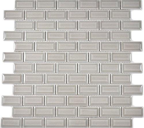 Mini Metro Subway Mosaic Tile Ceramic Grey Brick Bond Diamond Stone Grey for Wall, Bathroom, Toilet, Shower, Kitchen…