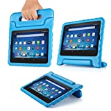 TNP Shock Proof Case for All New Fire HD 8 Tablet (7th Gen, 2017 Release) - For Kid Friendly Child Proof Anti Slip Impact Drop Light Weight Convertible Handle Stand Cover Protective Case (Blue)