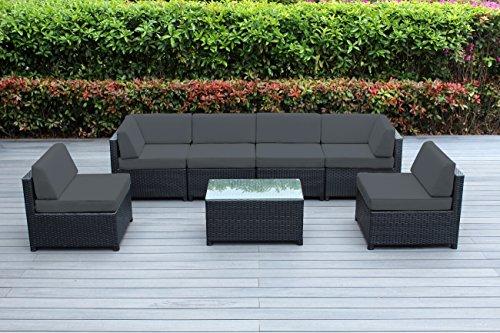 Ohana Mezzo 7-Piece Outdoor Wicker Patio Furniture Sectional Conversation Set (Dark Gray) (7 Piece Gathering Set)