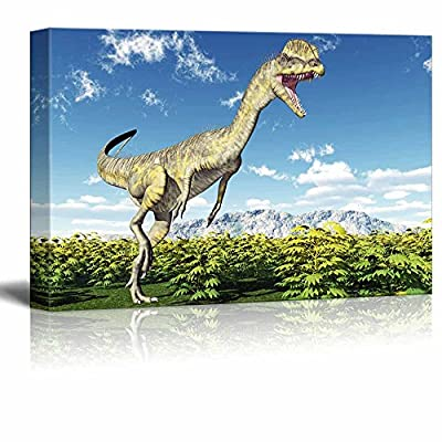 Canvas Prints Wall Art - Dinosaur Dilophosaurus | Modern Wall Decor/Home Decoration Stretched Gallery Canvas Wrap Giclee Print. Ready to Hang - 32