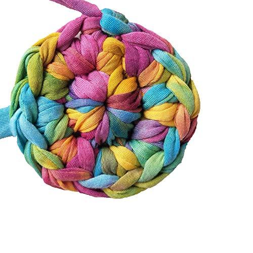Clisil Colorful DIY T-Shirt Yarn Bulky Fabric Yarn Spaghetti Yarn Craft MaterialDIY Crochet Yarn Chunky Knit Rug Basket Pet Bed Yarn 180g