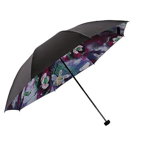 ab56be93f Amazon.com: RMXMY Ladies Fashion Art Umbrella 3-Folding Walking Umbrella  Unique Travel Umbrella Sturdy Windproof Anti-UV Compact Umbrellas (Color :  A): ...