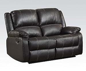 Acme muebles 52286Zuriel Loveseat (movimiento), Negro sintética