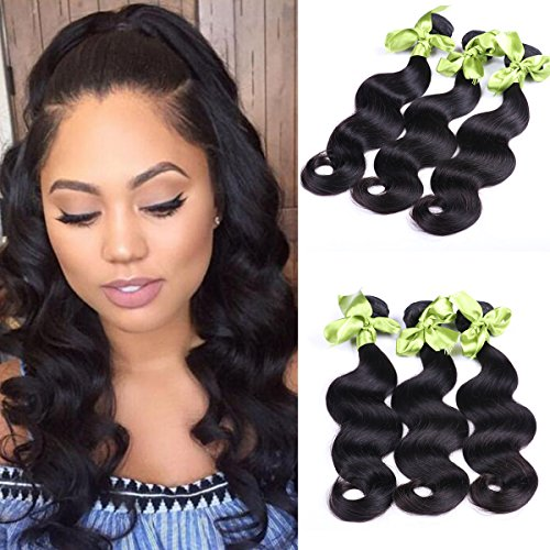 IUEENLY Hair Peruvian Virgin Hair Body Wave 3 Bundles Grade 7A Unprocessed Human Weave Weft Mixed Length Natural Black Total 300g 24 26 26 from IUEENLY