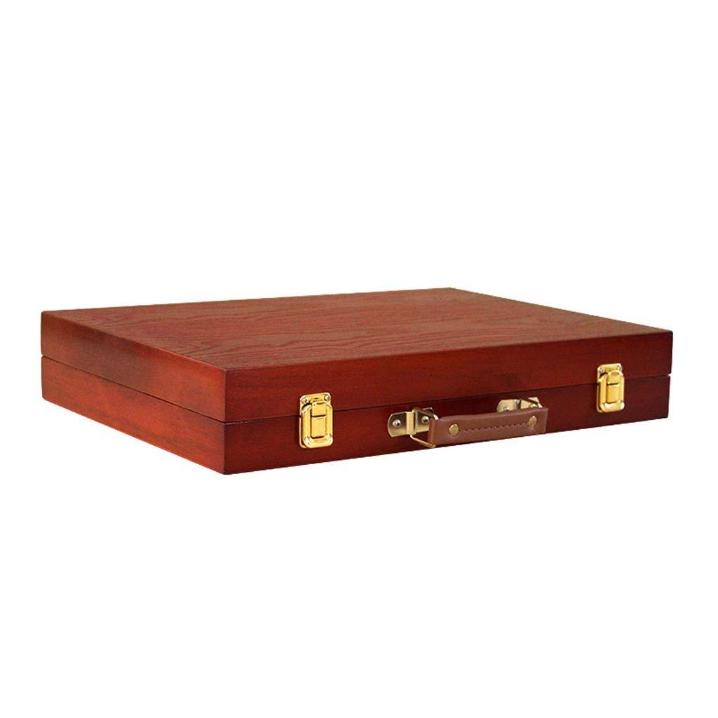 シュウクラブ@ 木製アートペインティングボックス、ストレージボックス、デスクトップ大容量ポータブルポータブル学生レトロ赤茶色の画像ボックス、31 * 45 * 7.7 cm   B07GZJNSYB