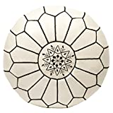 Casablanca Market Moroccan Embroidered Cotton Stuffed Leather Pouf/Ottoman, Black on White