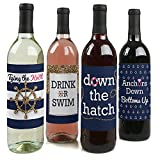 Last Sail Before The Veil - Nautical Bridal Shower & Bachelorette Party Gift for Women - Wine Bottle Label Stickers - Set of 4