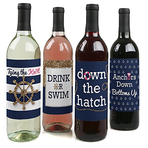 (Last Sail Before The Veil - Nautical Bridal Shower & Bachelorette Party Gift for Women - Wine Bottle Label Stickers - Set of)