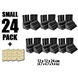 Arrowzoom New 24 Pack of 4.7 in X 4.7 in X 9.4 in Black Soundproofing Insulation Bass Trap Acoustic Wall Foam Padding Studio Foam Tiles AZ1133 (BLACK)