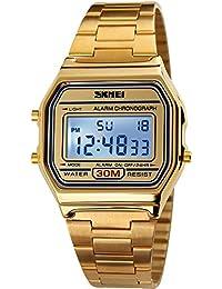 Mens Digital Gold Stainless Steel Watch Backlit Multifunction Stopwatch Waterproof Sport Watches