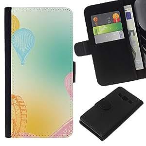 Stuss Case / Funda Carcasa PU de Cuero - Feria noria monta?as americanas en colores pastel - Samsung Galaxy A3