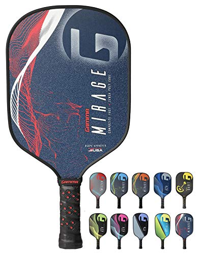 GAMMA Mirage Composite Pickleball Paddle: Pickle Ball Paddles for Indoor & Outdoor Play - USAPA Approved Racquet for Adults & Kids - Red/White/Blue by Gamma (Image #8)