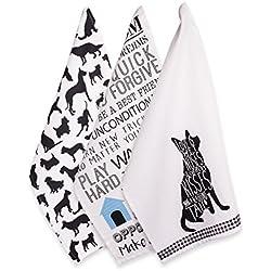 """DII - Toalla de cocina y platos 100% algodón, uso diario, Toalla, Dog Prints (3), Dishtowel - 18 x 28"""", 1"""