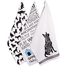 """DII Cotton Decorative Pet Lover Dish Towel 18 x 28"""" Set of  3, Oversized Kitchen Dish Towels, Perfect Mother's day, Hostee, Housewarming Gift-Dog Show"""