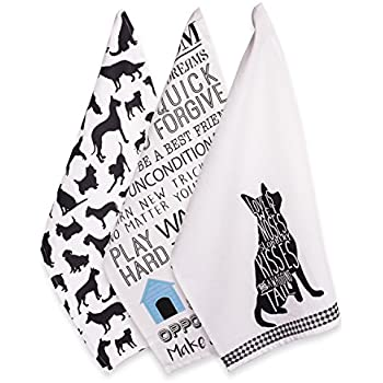 DII 100% Cotton, Everyday Basic Home Kitchen, Ultra-Absorbent, Drying, Cleaning, Pet Lover, Printed Dish Towels, 18 x 28, Set of 3-Dog, Dishtowel, (3)