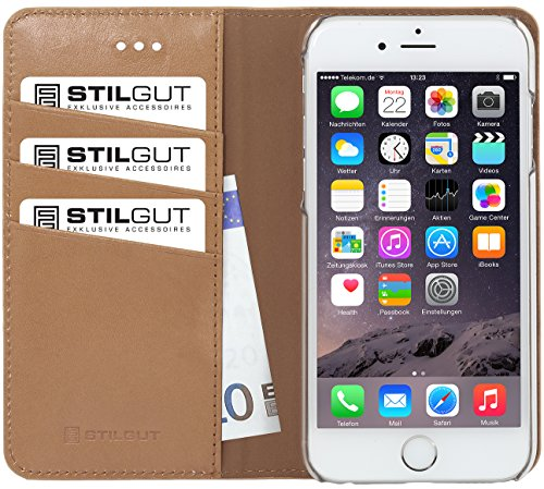 StilGut Talis Italian-Series, Leather Wallet Case for Apple iPhone 6 & iPhone 6s (4.7''), Luxus Beige