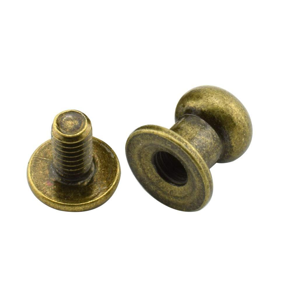 Bronze 30 Pcs Rivets Chicago Screws Studs Spike Screwback spot for Leather Craft Belt Wallet