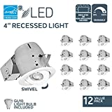 """Nadair 12 Pack 4"""" LED Swivel Dimmable Downlight Spotlight Recessed Light CSA Energy Star Complete Kit, 12 X LED GU10 550 Lumens Lightbulb (50 Watts Equivalent) Included, IC Rated, 3000K Warm White"""