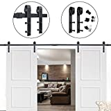 Hahaemall Antique Rustic 14FT/168'' J-Shape Sliding Barn Wood Door Hardware Heavy Bearing Flat Tracks Double Doors Kit