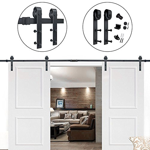 Hahaemall Antique Rustic 14FT/168'' J-Shape Sliding Barn Wood Door Hardware Heavy Bearing Flat Tracks Double Doors Kit by Hahaemall