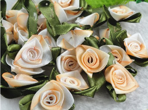 100pcs Daffodil Satin Ribbon Flower w/ Appliques-5 Color-(pick Color) (Orange)