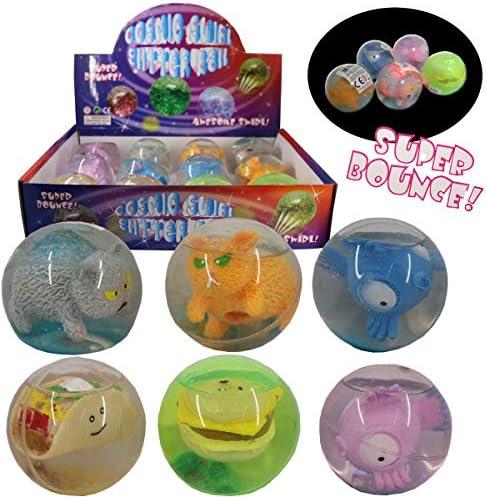 3 pelotas de goma LED con purpurina, figuras de animales, bola de ...