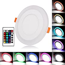 Lemonbest LED Panel Light Round Recessed Ceiling Downlight Fixture, Color Changing RGB and Cool White (6+3W)