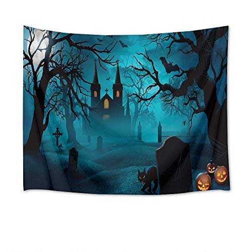 (Sandayun88x Halloween Tapestry Wall Hanging Full Moon Tapestry Black Cat Pumpkins and Bats in Front of Haunted House Wall Blankets for Bedroom Living Room Dorm Decor,80 X 60)
