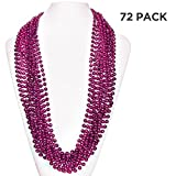 (72 Pack) 33'' Inch Round Metallic Mardi Gras Party Necklace Beads (Pink)