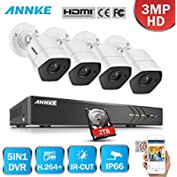 ANNKE 8 Channel 3MP HD Security Camera System with 2TB HDD and (4) 3-Mega Pixels Weatherproof Cameras, Super Night Vision and Metal Housing