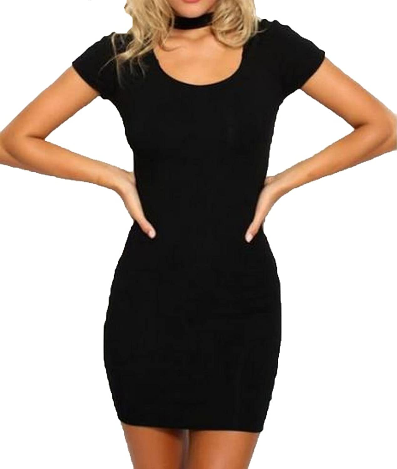 Winwinus Womens Girls Slim Fit Sexy Solid Color Pencil Dress Black US L