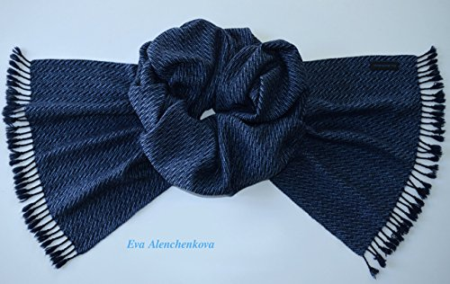 Men's Cashmere Silk Blue Hand Woven Scarf by Eva Alenchenkova