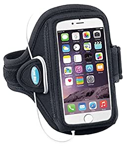 Armband for iPhone 6, 6s and Galaxy S3/S4; Also fit iPhone 5, 5s, 5c, SE with OtterBox Commuter Case - Great for Running, Sports & Workouts for Men & Women - Sweat-Resistant Design [Black]