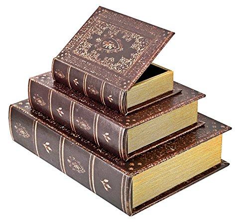 Bellaa 28199 Book Box Old World Secret Storage Stash Designed Wood Flux Leather