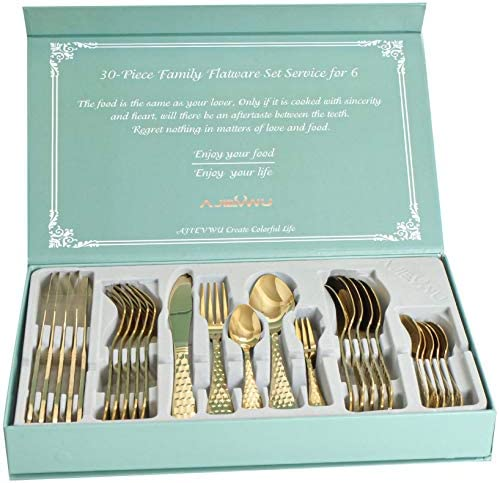 30 Piece Silverware Set for six,Hammered Spoons and Forks Set Stainless Steel Silverware Set for six Tableware Cutlery Flatware Set for Home Restaurant Kitchen Utensils Set, Dishwasher Safe (Gold)