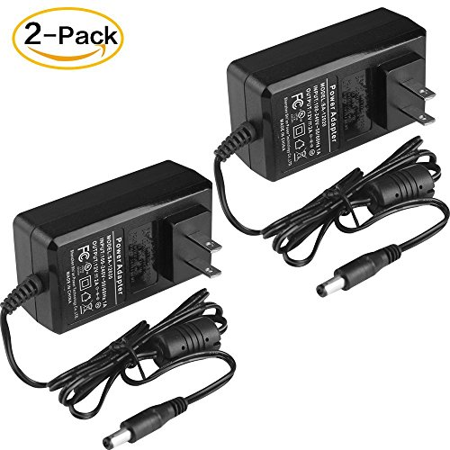 12V 2A Power Supply Adapter 2 Pack AC 100-240V to DC 2.1mm X 5.5mm US Plug 12 Volt 2Amp Power Adapter Charger for CCTV Camera and Other 12 V Applications