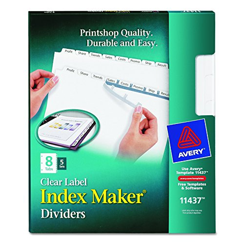 Avery LSK8 Index Maker Clear Label Dividers with White Tabs for Laser and Ink Jet Printers, 3 hole punched, 5 set of 8 - Dividers Laser