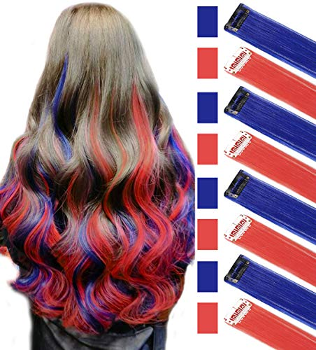 JCM Blue&Red Multi-Colors Party Highlights Straight Clip in/on Colored Hair Streak Synthetic Hairpieces(Blue Red)