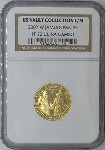 2007 W Commemorative Set $5.00 PF-70 NGC US Vault Collection 22k $5 - Jamestown - NGC PF 70 Ultra Cameo ()