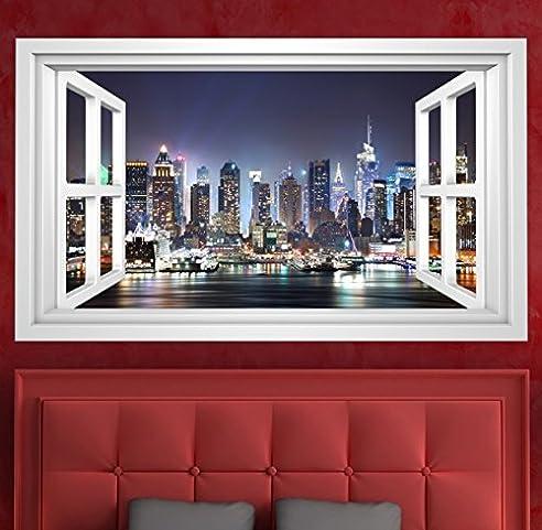 3D Wandmotiv New York Fenster Skyline USA Bildfoto Wandbild Wandsticker Wandtattoo Wohnzimmer Wand Aufkleber 11E363