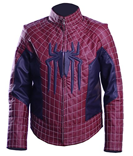 The Amazing Spider-Man 2 Andrew Garfield Leathers Costume Jackets Hot- Sale (Blue-mehroon, XXX-Large)